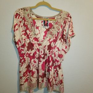 Johnny Was Fushia Embroidered Blouse Size L